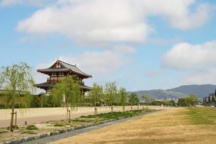 奈良・平城宮跡と若草山の写真素材 [FYI04803568]