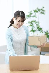 荷物を持ちながらパソコンを見る女性の写真素材 [FYI04803761]