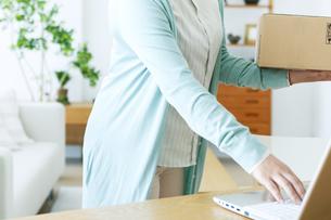 荷物を持ちながらパソコンを操作する女性の手元の写真素材 [FYI04803765]