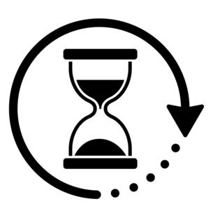 砂時計と回転する矢印のアイコンのイラスト素材 [FYI04803901]