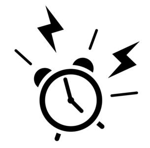 アラームが鳴る目覚まし時計のアイコン 5時のイラスト素材 [FYI04803903]
