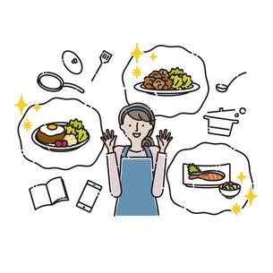 家族:主婦 いろいろなメニュー(レシピ)に喜ぶのイラスト素材 [FYI04804374]