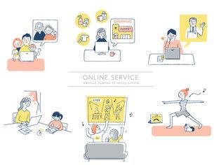 さまざまなオンラインサービスのシーン セットのイラスト素材 [FYI04804478]