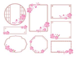 春の桜フレームセットのイラスト素材 [FYI04804516]