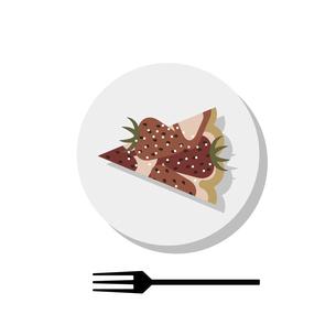 お皿に乗った イチゴタルトのイラスト素材 [FYI04804624]