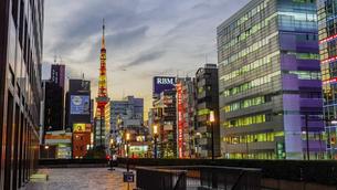 世界貿易センタービルと浜松町駅を結ぶデッキから東京タワー(街灯が灯り始める日暮れ時の都市風景)の写真素材 [FYI04804680]