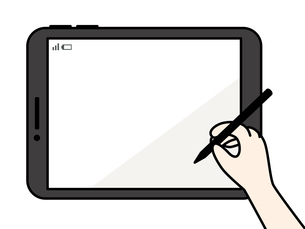 タブレット-タッチペンを持つ手のイラスト素材 [FYI04804975]