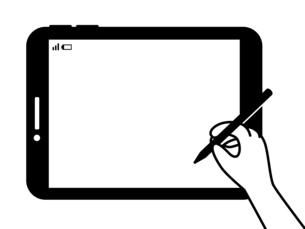 タブレット-タッチペンを持つ手-白黒のイラスト素材 [FYI04804977]