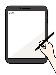 タブレット-タッチペンを持つ手のイラスト素材 [FYI04804978]
