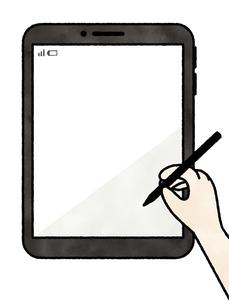 タブレット-タッチペンを持つ手-水彩のイラスト素材 [FYI04804979]