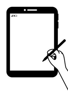 タブレット-タッチペンを持つ手-白黒のイラスト素材 [FYI04804980]