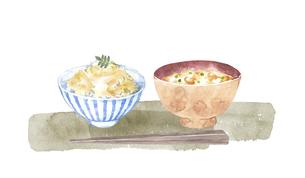 たけのこご飯と味噌汁の水彩画のイラスト素材 [FYI04805444]
