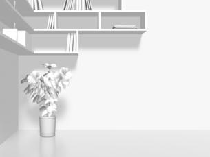 本棚と植物のイラスト素材 [FYI04805780]