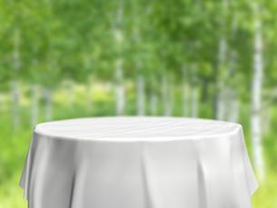 円卓と白樺林のイラスト素材 [FYI04805854]