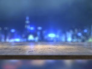 カウンターテーブルと都市の夜景のイラスト素材 [FYI04805858]
