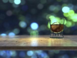 カウンターテーブルとウイスキーグラスと街明かりのイラスト素材 [FYI04805860]
