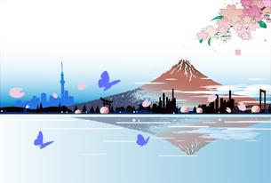 赤富士の春,桜と蝶と街並みのイラスト素材 [FYI04806151]