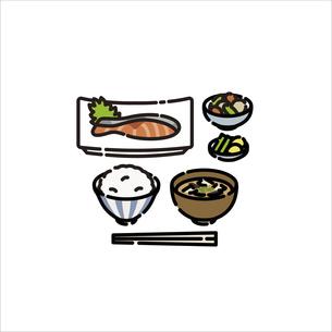 メニュー:和食 焼き鮭定食のイラスト素材 [FYI04806219]