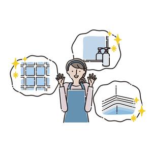 お風呂:トラブル お風呂のトラブルが解決して喜ぶ主婦のイラスト素材 [FYI04806220]
