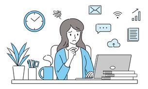 テレワーク、オンライン授業、トラブル、パソコンを操作する、困った表情の若い女性のイラスト素材 [FYI04806495]