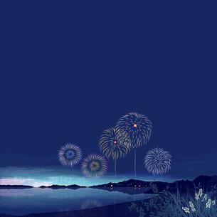 夏の夜空のイラスト素材 [FYI04806750]