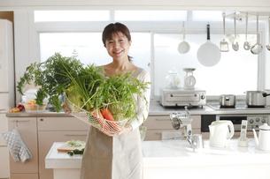 主婦 キッチン 野菜の写真素材 [FYI04806776]