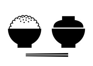 ご飯と味噌汁 白黒 イラストのイラスト素材 [FYI04806990]
