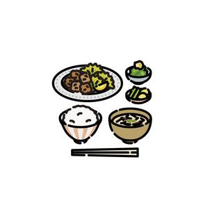 メニュー:和食 唐揚げ定食のイラスト素材 [FYI04807754]