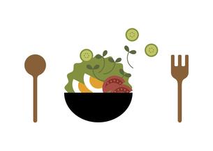 サラダと食器 イラストのイラスト素材 [FYI04808128]