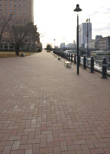 冬の朝の石畳の遊歩道の写真素材 [FYI04808277]