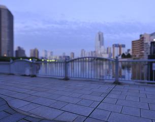 早朝の隅田川遊歩道の写真素材 [FYI04808282]