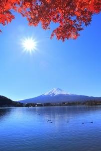 河口湖の紅葉と富士山に太陽の写真素材 [FYI04808477]