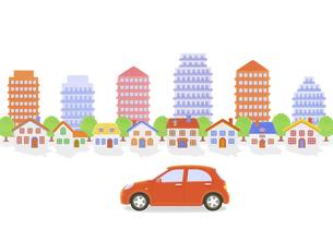 赤い車と街並みの写真素材 [FYI04808884]