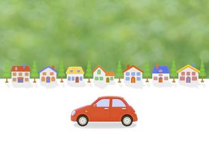 赤い車と家並みの写真素材 [FYI04808889]