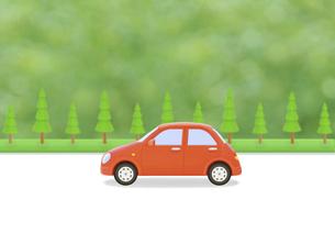 赤い車と街路樹の写真素材 [FYI04808898]