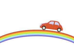 虹と赤い車の写真素材 [FYI04808899]