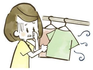 生乾き臭-洗濯物-水彩のイラスト素材 [FYI04809395]