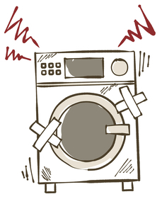 故障しているドラム洗濯乾燥機のイラスト素材 [FYI04809421]