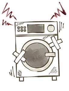 故障しているドラム洗濯乾燥機-水彩のイラスト素材 [FYI04809422]