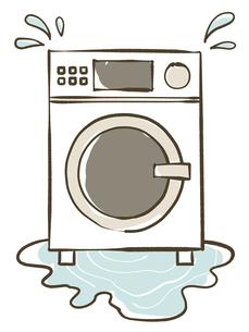 水漏れしているドラム洗濯乾燥機のイラスト素材 [FYI04809438]