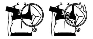 肥満の女性の二の腕と背中-クローズアップ-黒のイラスト素材 [FYI04809620]