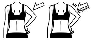 女性の二の腕と背中-チェック-黒のイラスト素材 [FYI04809623]