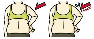 肥満の女性の二の腕と背中-チェックのイラスト素材 [FYI04809625]