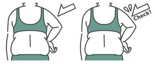 肥満の女性の二の腕と背中-チェック-2色のイラスト素材 [FYI04809627]