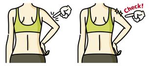 女性の二の腕と背中-チェックのイラスト素材 [FYI04809628]