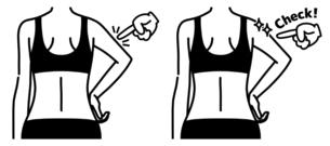 女性の二の腕と背中-チェック-黒のイラスト素材 [FYI04809629]