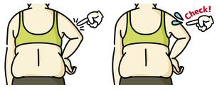 肥満の女性の二の腕と背中-チェックのイラスト素材 [FYI04809631]