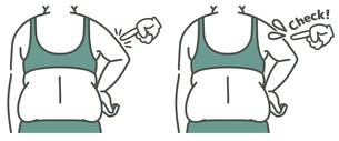肥満の女性の二の腕と背中-チェック-2色のイラスト素材 [FYI04809633]