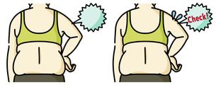 肥満の女性の二の腕と背中-チェックのイラスト素材 [FYI04809638]