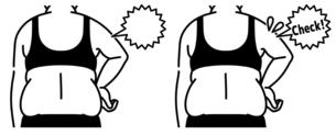肥満の女性の二の腕と背中-チェック-黒のイラスト素材 [FYI04809639]